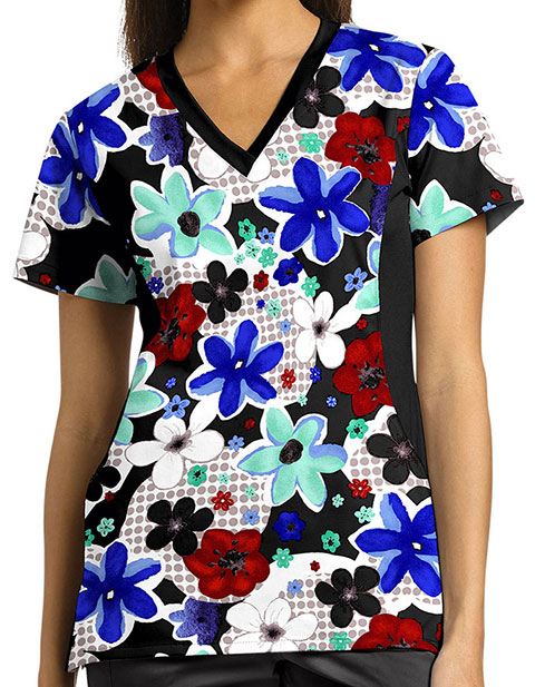 White Cross Women's Forget Me Not V-Neck Printed Scrub Top