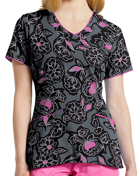 White Cross Women's Botanic Decor V-Neck Printed Scrub Top