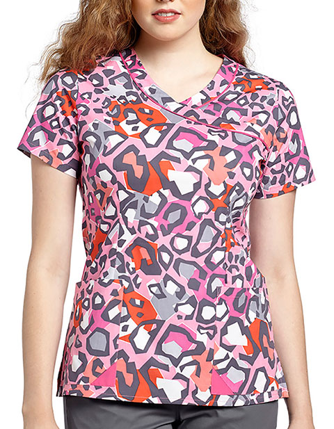 White Cross Womens Coral Cat Mock wrap top