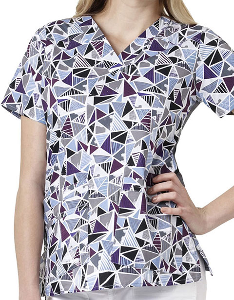 WonderWink WonderFLEX Prints Looking Glass Darted V-Neck Scrub Top