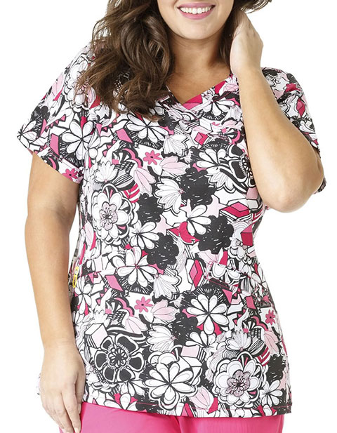 WONDERWINK PLUS Women's Floral Graffiti Printed Mock Wrap Top