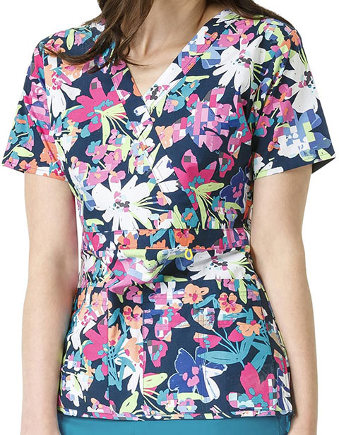 WonderWink Origins Prints Womens Golf Mock Wrap Havana Nights Print Top