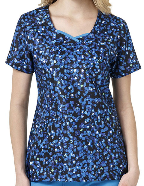 WonderWink Four-Stretch Prints Feeling Bubbly V-Neck Scrub Top