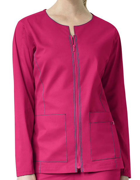 WonderWink Seven Flex Women's Contrast Triple Stitching Zip-Front Warm-Up Jacket