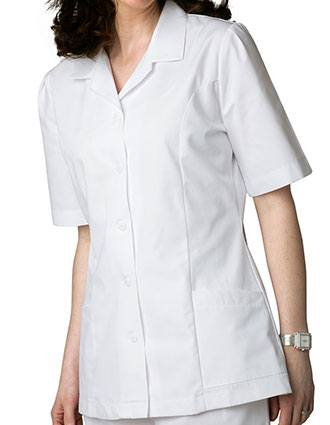 Adar Women Two Pockets Lapel Collared White Scrubs Tops
