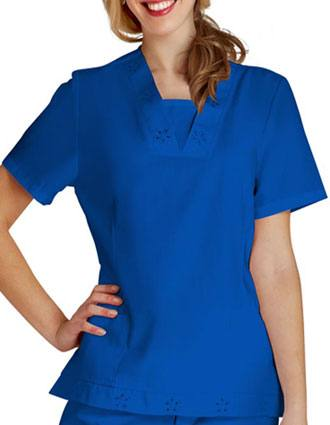 Adar Women Eyelet Tunic With Inset White Scrub Top