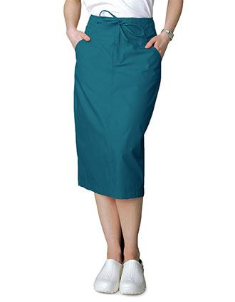 Adar Women Two Pocket Mid-Calf Drawstring Uniform Skirt