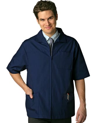 Clearance Sale! Men Zippered Short Sleeve Medical Scrub Jacket