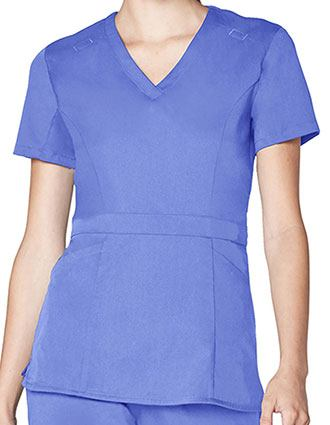 Adar Pro Women's Tailored Peplum V-neck Top