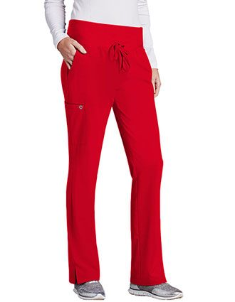Barco One Women's 5-Pocket Knit Waistband Flare Petite Scrub Pant