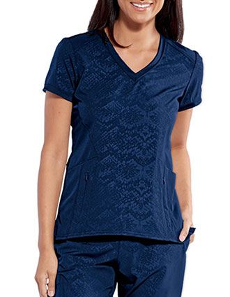 Barco One Women's Embrace Textured Solid Scrub Top
