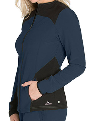 Barco One Wellness Women's Sleek Neckline Zip front Zen Scrub Jackets