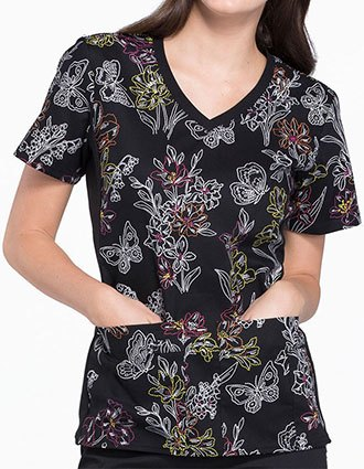 Clearance Cherokee Women's One Stitch At A Time Printed V-Neck Top