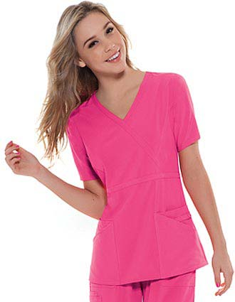 Cherokee Women Four Pocket Mock Wrap Scrub Top