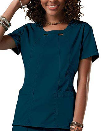 Cherokee Workwear Junior Four-Pocket Scoop Neck Top