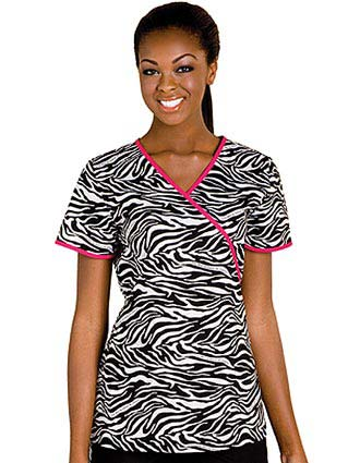 Baby Phat Women Mock Wrap Animal Instinct Nursing Scrub Top