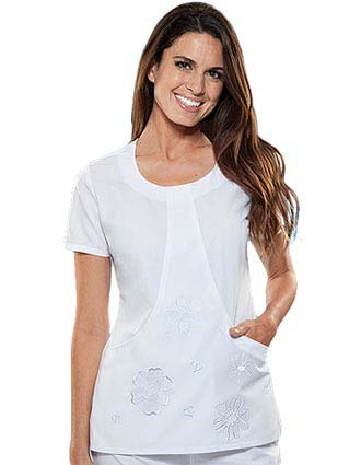 Cherokee Womens Two Pocket Scoop Neck Tunic Nursing Scrub Top