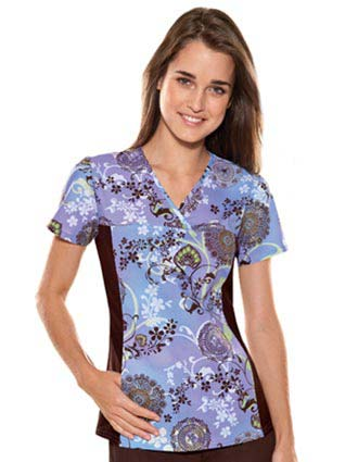 Flexibles Womens V-Neck Sunset Serenade Print Scrub Top