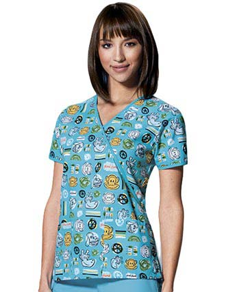 Tooniforms Women Mock Wrap Doodle Friends Print Scrub Top