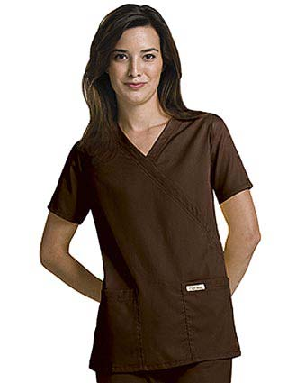 Cherokee Touch Women Two Pockets Mock Wrap Nursing Scrub Top