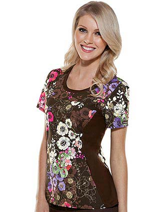 Flexibles Women Jewel Neck Serenity Printed Nurse Scrub Top