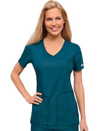 Cherokee Pro-Flexibles Womens Two Pocket Flexible Mock Wrap Top