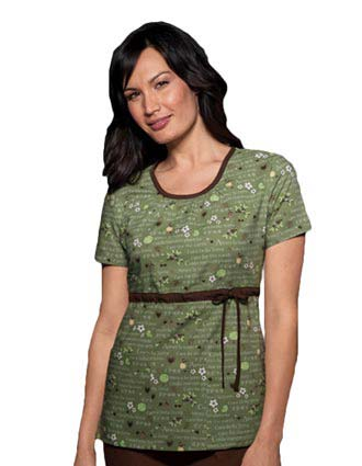 Cherokee Studio Women Scoop Neck Scrub Care For the Earth Scrub Top