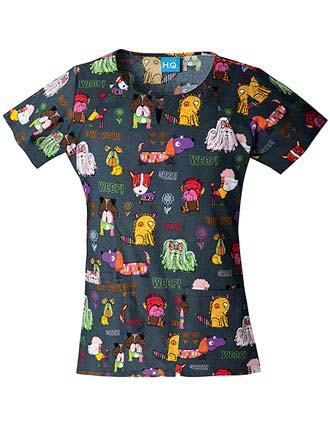 Cherokee HQ Women's Happy Tails To You Round Neck Scrub Top