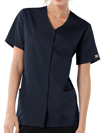 Cherokee Workwear Women's Short Sleeve Snap Scrub Top