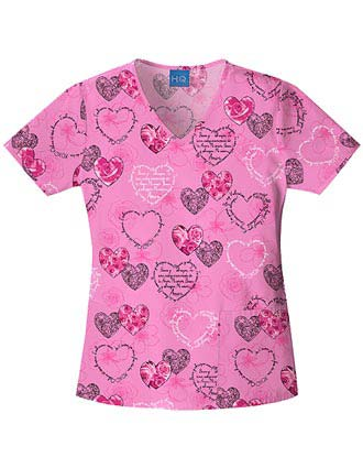 Cherokee HQ  My Sweet Love V-Neck Scrub Top