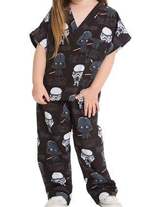 Tooniforms Kid Scrubs That's Snow Mickey Print Top and Pant Scrub Set
