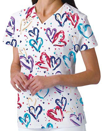Cherokee Women Two Pockets V-Neck Heartbeat Nurse Scrub Top