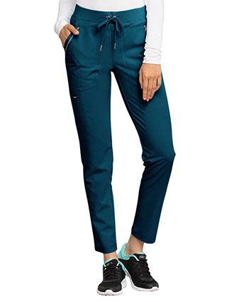 Cherokee Statement Women's Mid Rise Straight Leg Drawstring Petite Pants