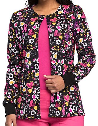 Cherokee Women's Doodle You Care Printed Snap Front Jacket