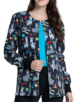 Cherokee Women's Llama Love Print Warm-up Jacket