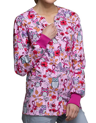 Cherokee Breast Cancer Awareness Women's Owl About The Love Snap Front Warm-up Jacket