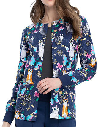 Cherokee Women's Loving Floral Print Warm-up Jacket