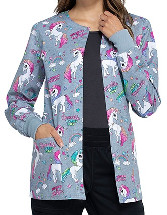 Cherokee Women's Sparkle Every Day Printed Warm-up Jacket
