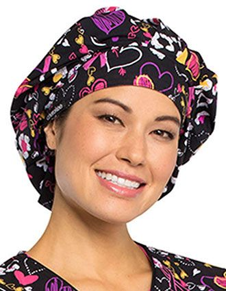 Cherokee Unisex Doodle You Care Printed Bouffant Scrub Hat