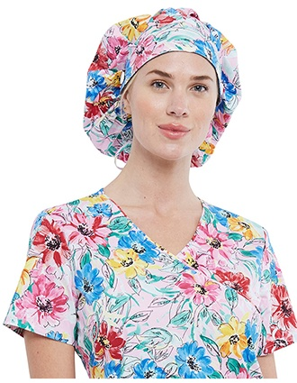Cherokee Unisex Watercolor Blossoms Print Bouffant Scrubs Hat