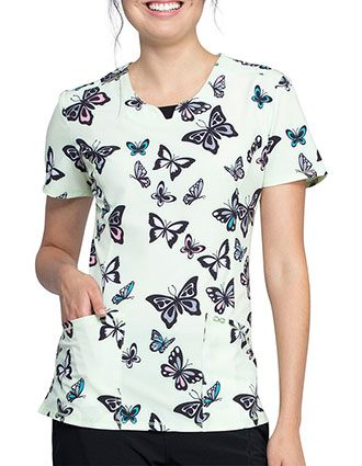 Cherokee Women's Let's Fly Printed Round Neck Top