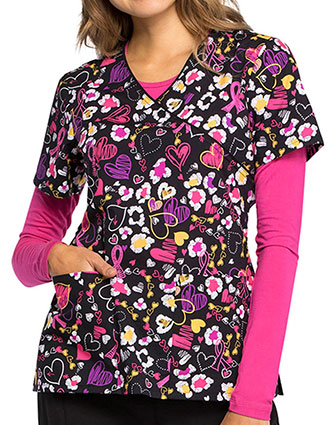 Cherokee Women's Doodle You Care Printed Mock Wrap Top