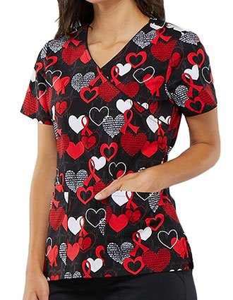 Cherokee Women's Heart Smart Printed Mock Wrap Top