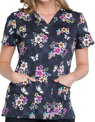 Cherokee Women's Butterflies And Blossoms Printed V-Neck Top