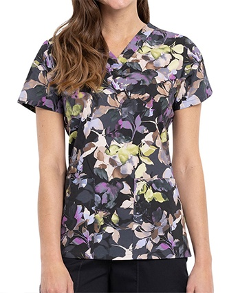 Cherokee Women's Nocturnal Branches Print V-Neck Top