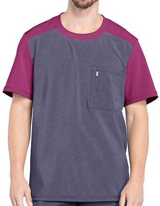 Cherokee Infinity Men Colorblock Crew Neck Top