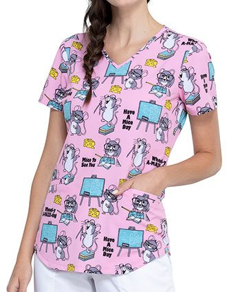 Cherokee Women's Mice To See You Prints V-Neck Scrub Top