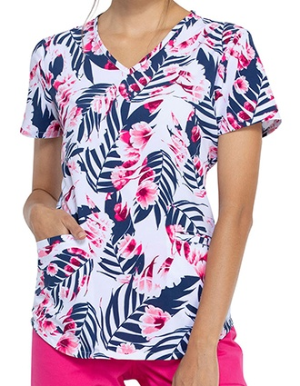 Cherokee Women's Palms And Posies Prints V-Neck Scrub Top