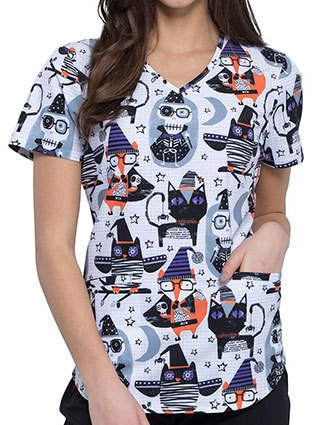 Cherokee Women's Spooky Halloween Friends Prints V-Neck Scrub Top