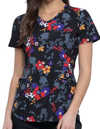 Cherokee Women's Stripe Hype Floral Prints V-Neck Scrub Top